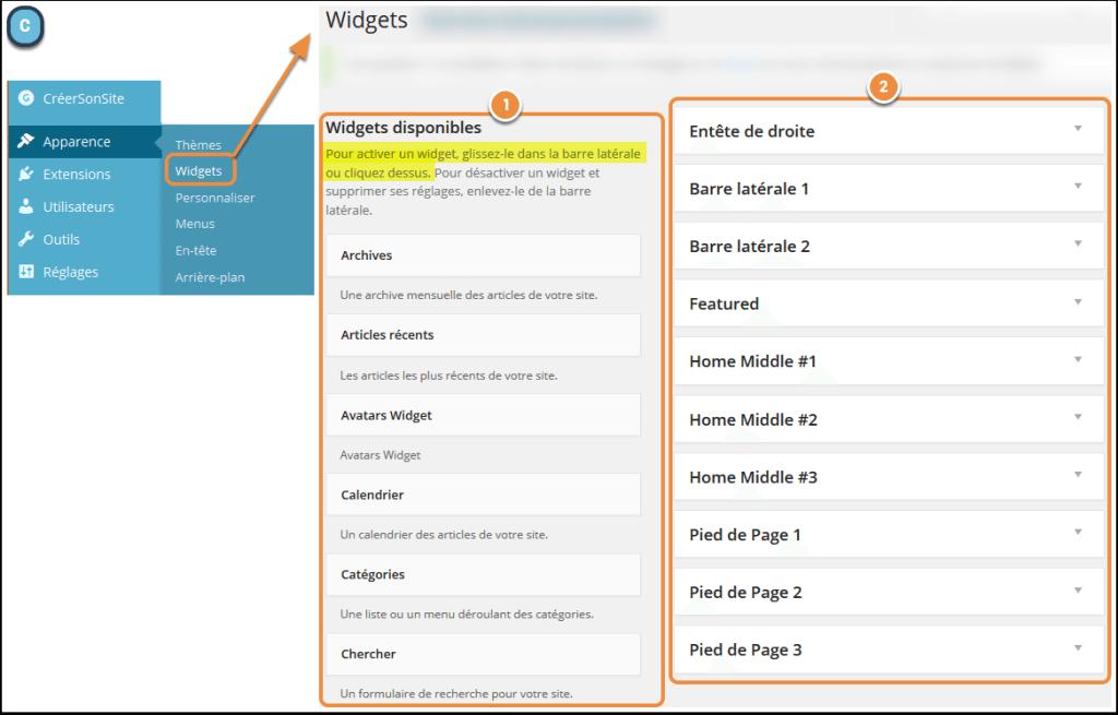 Choix des widgets