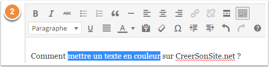 Sélectionner le texte à mettre en couleur