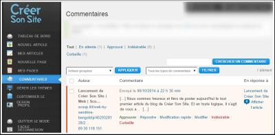 Ecran de modération des commentaires sur un site