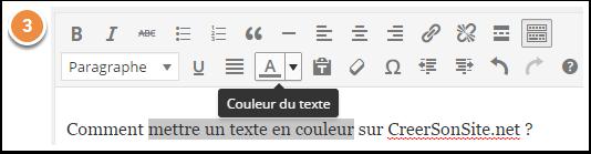 Icône pour changer la couleur du texte